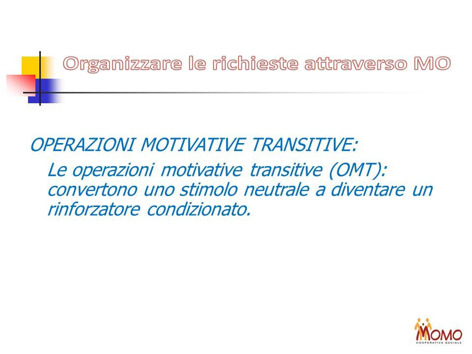 OPERAZIONI MOTIVATIVE TRANSITIVE: Le operazioni motivative transitive (OMT): convertono uno stimolo neutrale a diventare un rinforzatore condizionato.