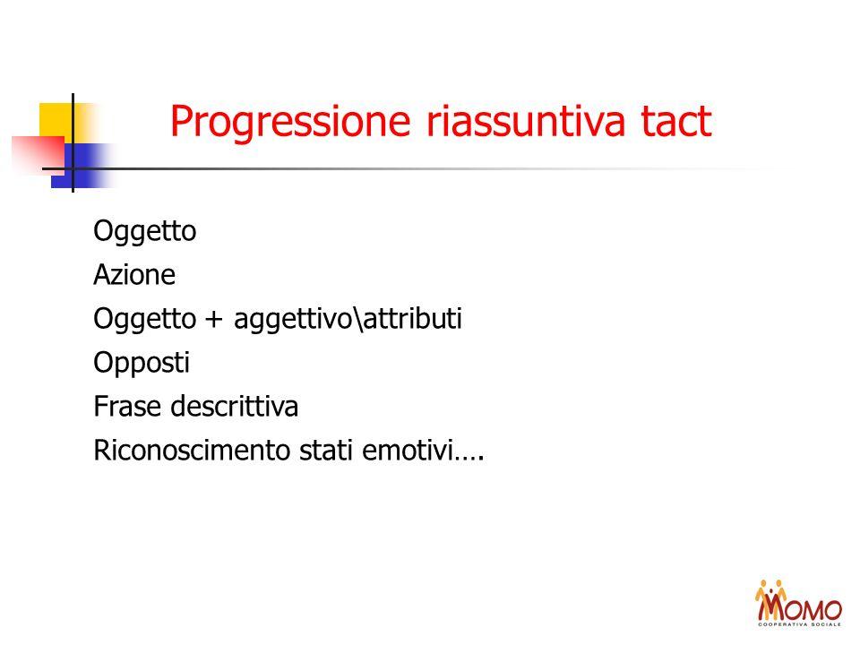 Progressione riassuntiva tact Oggetto Azione Oggetto + aggettivo\attributi Opposti Frase descrittiva Riconoscimento stati emotivi….