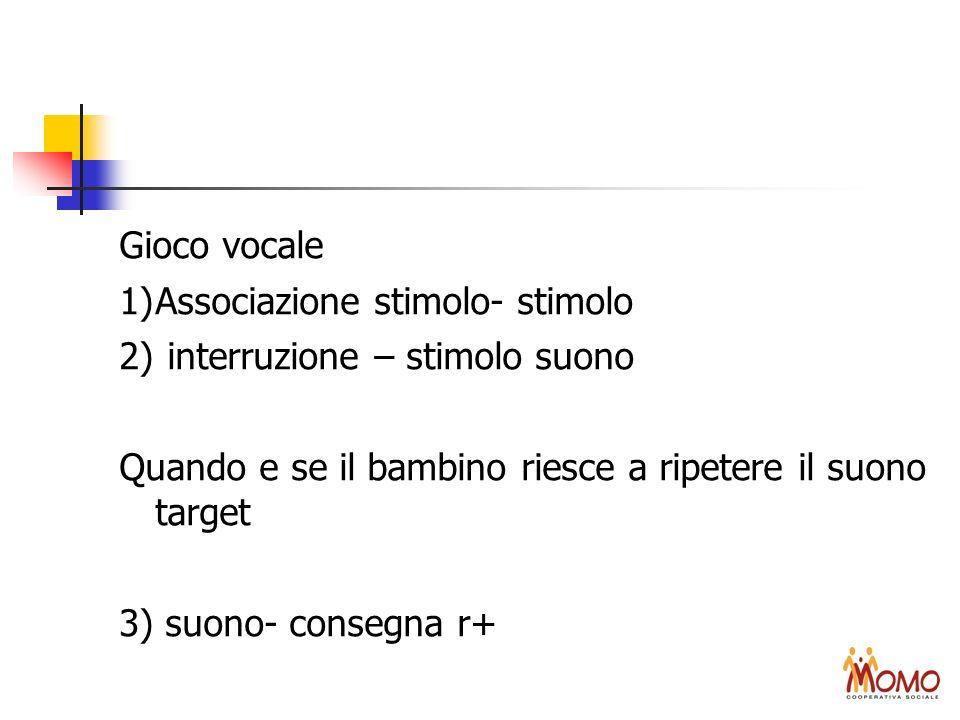 Gioco vocale 1)Associazione stimolo- stimolo 2) interruzione – stimolo suono Quando e se il bambino riesce a ripetere il suono target 3) suono- conseg