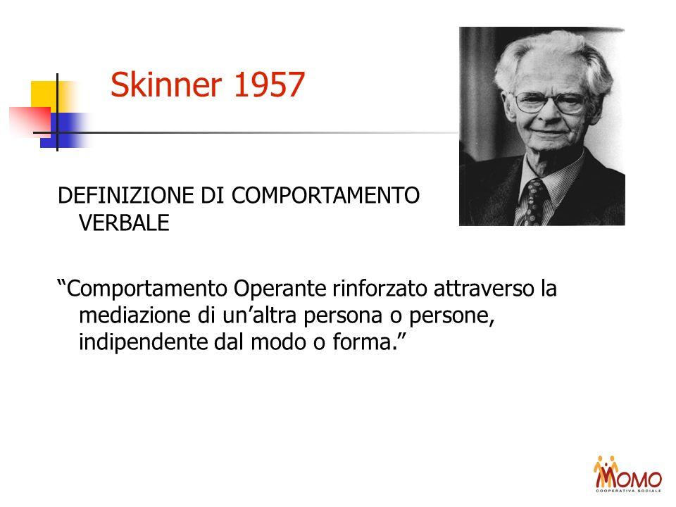 Skinner 1957 DEFINIZIONE DI COMPORTAMENTO VERBALE Comportamento Operante rinforzato attraverso la mediazione di unaltra persona o persone, indipendent
