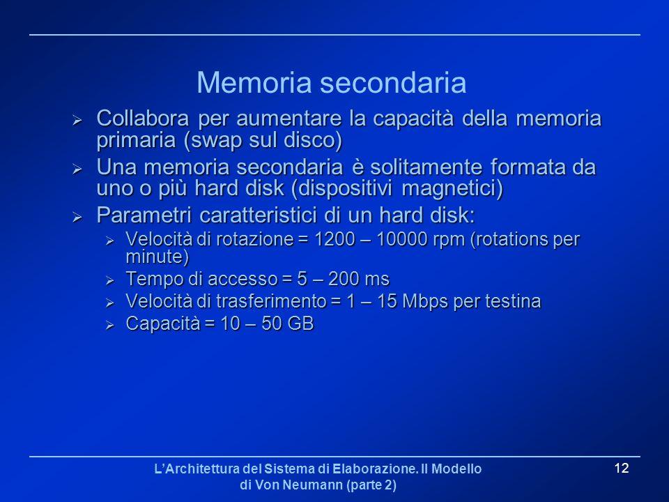 LArchitettura del Sistema di Elaborazione. Il Modello di Von Neumann (parte 2) 12 Memoria secondaria Collabora per aumentare la capacità della memoria