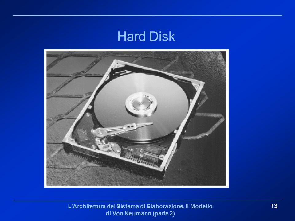 LArchitettura del Sistema di Elaborazione. Il Modello di Von Neumann (parte 2) 13 Hard Disk
