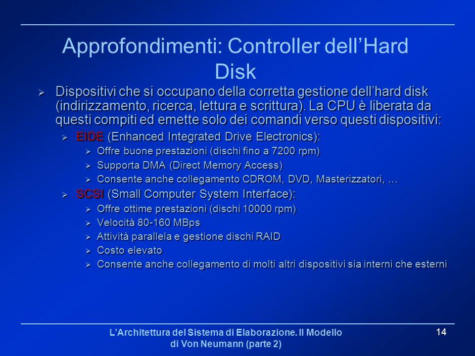 LArchitettura del Sistema di Elaborazione. Il Modello di Von Neumann (parte 2) 14 Approfondimenti: Controller dellHard Disk Dispositivi che si occupan