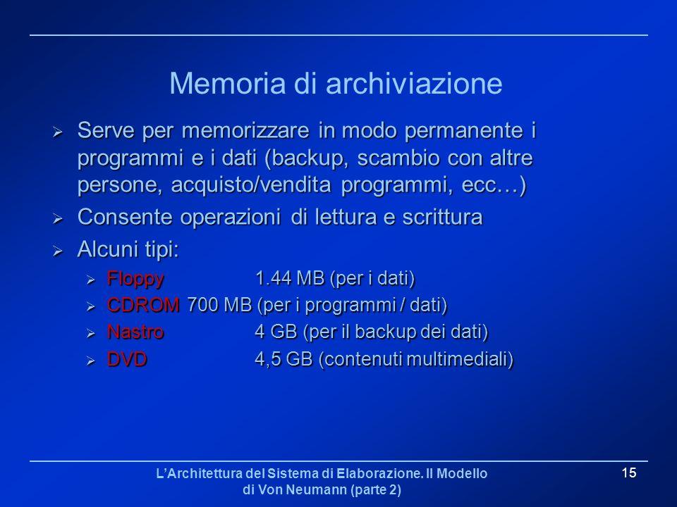 LArchitettura del Sistema di Elaborazione. Il Modello di Von Neumann (parte 2) 15 Memoria di archiviazione Serve per memorizzare in modo permanente i