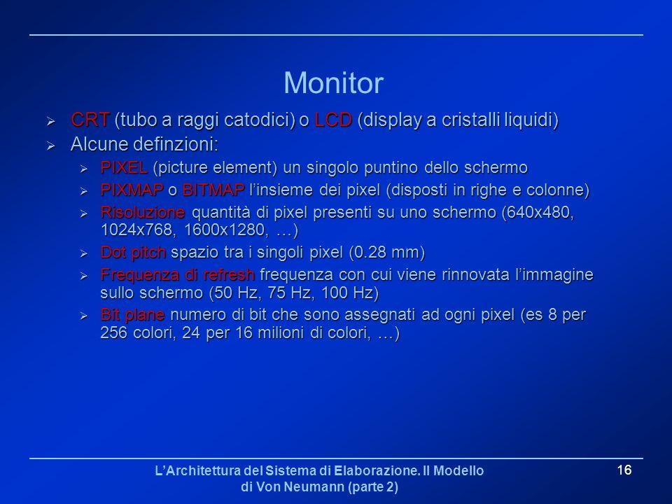 LArchitettura del Sistema di Elaborazione. Il Modello di Von Neumann (parte 2) 16 Monitor CRT (tubo a raggi catodici) o LCD (display a cristalli liqui