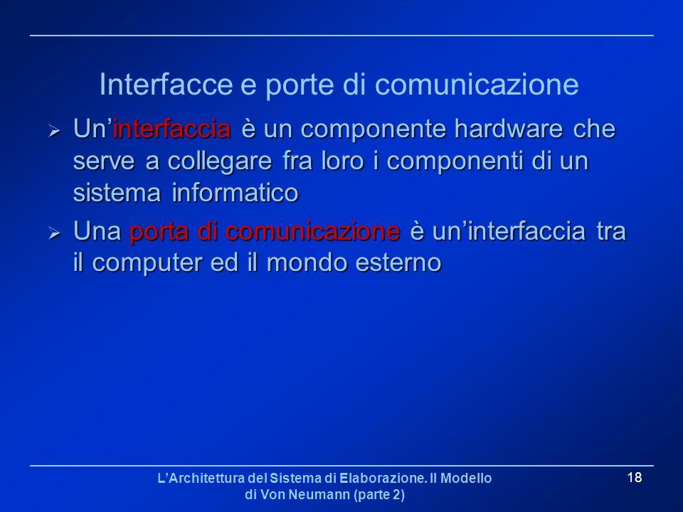 LArchitettura del Sistema di Elaborazione. Il Modello di Von Neumann (parte 2) 18 Interfacce e porte di comunicazione Uninterfaccia è un componente ha