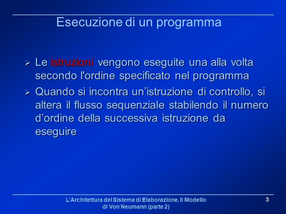 LArchitettura del Sistema di Elaborazione. Il Modello di Von Neumann (parte 2) 3 Esecuzione di un programma Le istruzioni vengono eseguite una alla vo