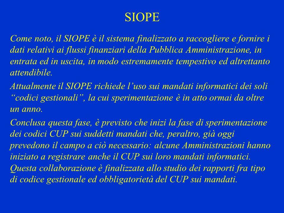 SIOPE Come noto, il SIOPE è il sistema finalizzato a raccogliere e fornire i dati relativi ai flussi finanziari della Pubblica Amministrazione, in ent