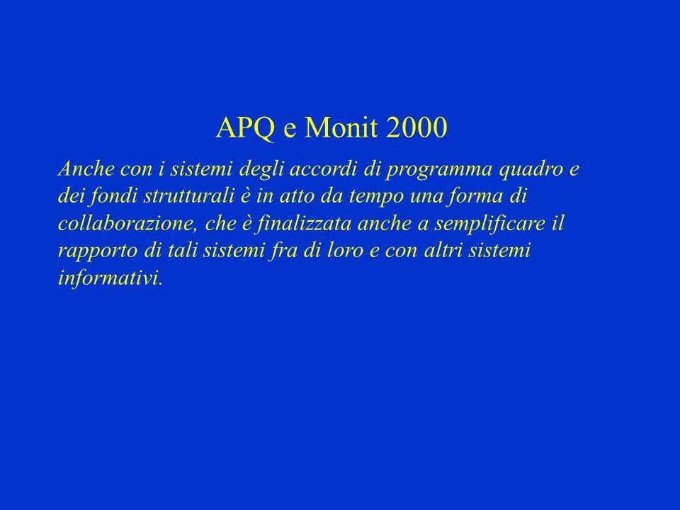 APQ e Monit 2000 Anche con i sistemi degli accordi di programma quadro e dei fondi strutturali è in atto da tempo una forma di collaborazione, che è finalizzata anche a semplificare il rapporto di tali sistemi fra di loro e con altri sistemi informativi.