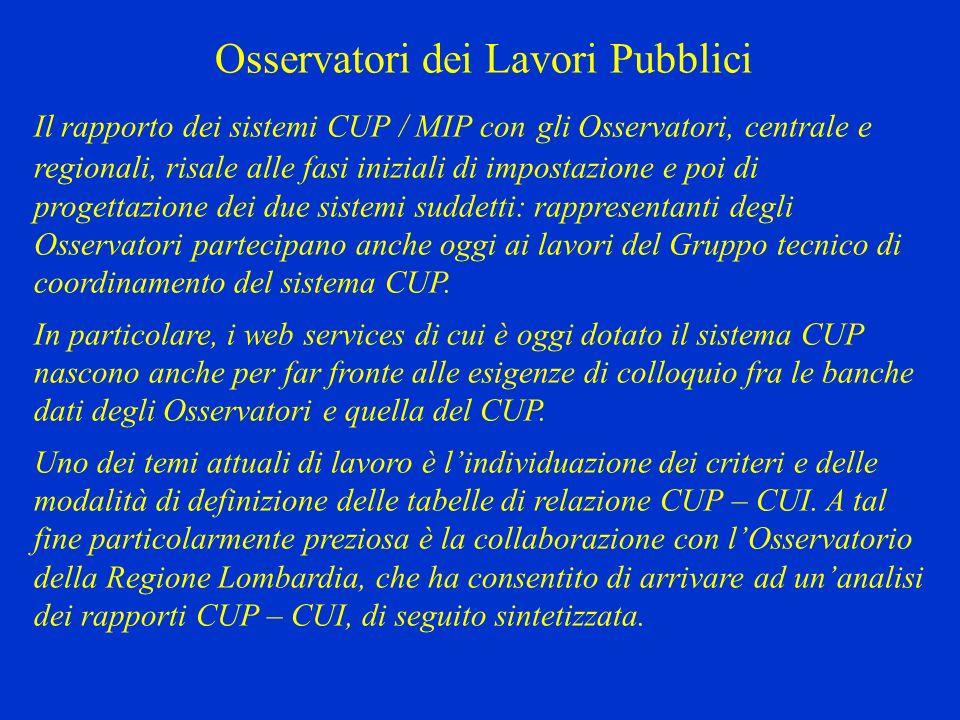 Osservatori dei Lavori Pubblici Il rapporto dei sistemi CUP / MIP con gli Osservatori, centrale e regionali, risale alle fasi iniziali di impostazione