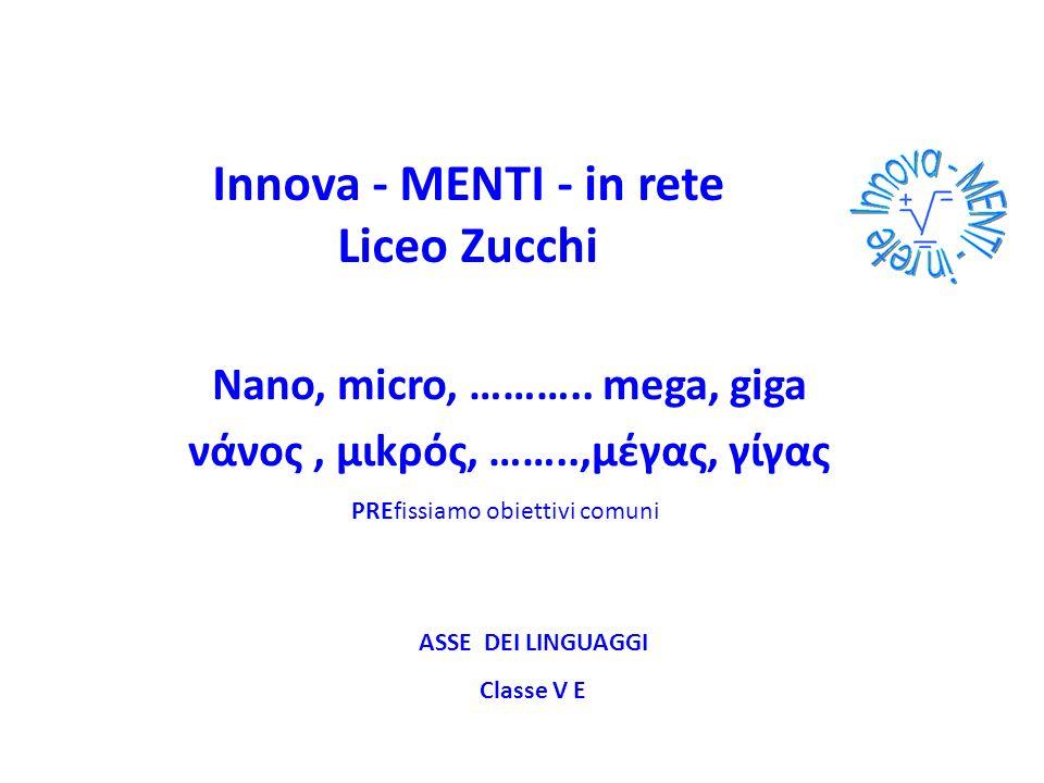 Innova - MENTI - in rete Liceo Zucchi Nano, micro, ……….. mega, giga νάνος, μιkρός, ……..,μέγας, γίγας PREfissiamo obiettivi comuni ASSE DEI LINGUAGGI C