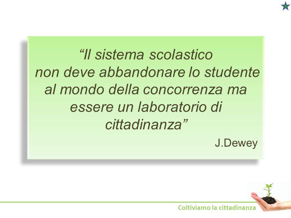 Il sistema scolastico non deve abbandonare lo studente al mondo della concorrenza ma essere un laboratorio di cittadinanza J.Dewey Coltiviamo la citta