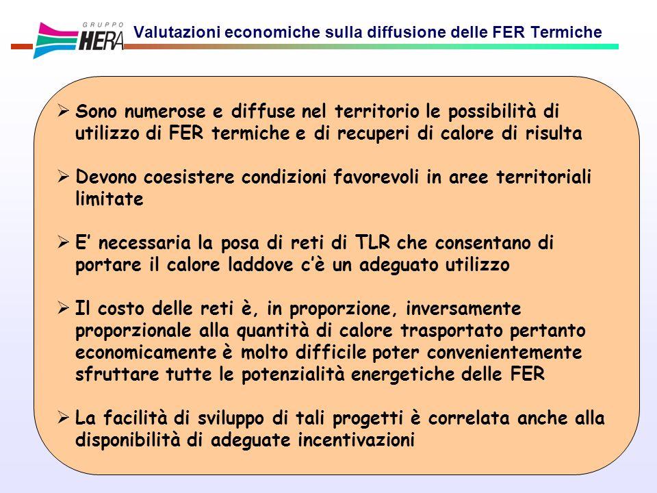19 Valutazioni economiche sulla diffusione delle FER Termiche Sono numerose e diffuse nel territorio le possibilità di utilizzo di FER termiche e di r