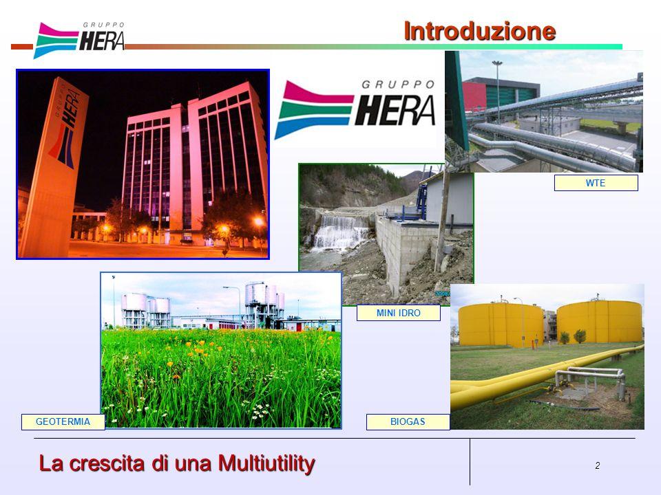 2 La crescita di una Multiutility Introduzione BIOGASGEOTERMIA MINI IDRO WTE