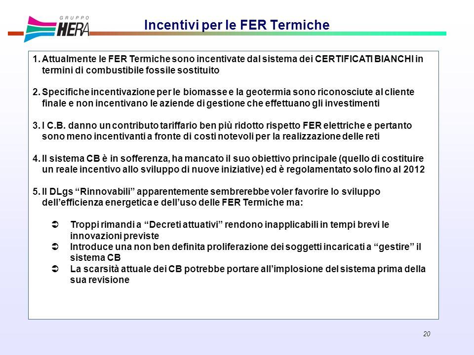 20 Incentivi per le FER Termiche 1.Attualmente le FER Termiche sono incentivate dal sistema dei CERTIFICATI BIANCHI in termini di combustibile fossile