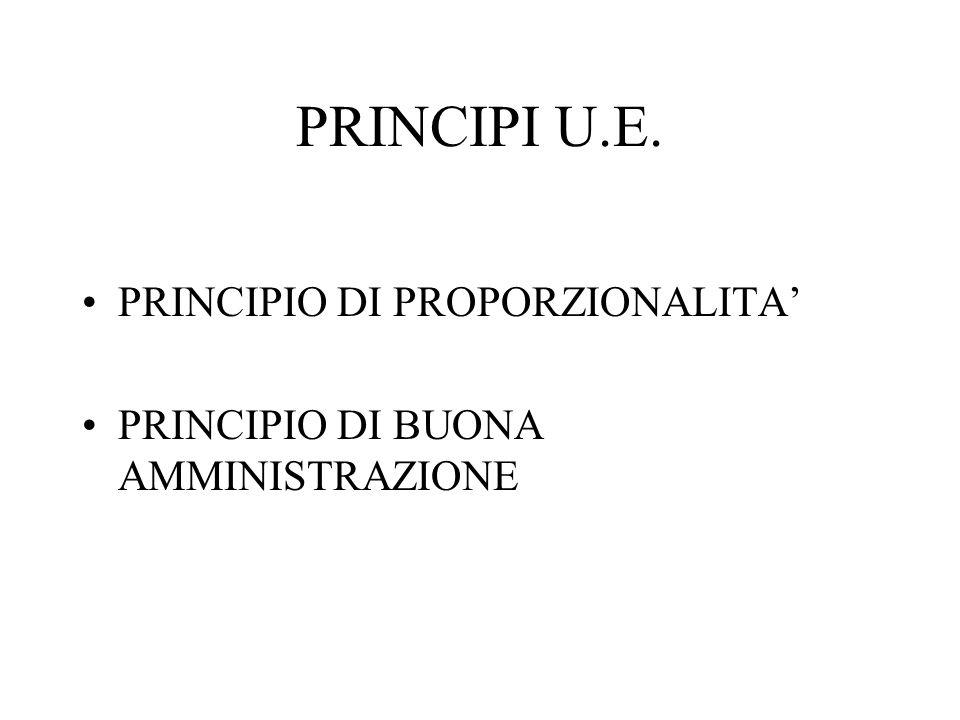 PRINCIPI U.E. PRINCIPIO DI PROPORZIONALITA PRINCIPIO DI BUONA AMMINISTRAZIONE
