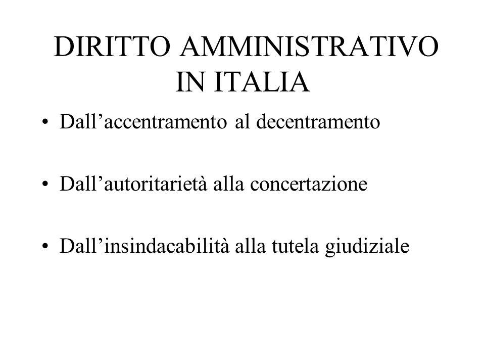 DIRITTO AMMINISTRATIVO IN ITALIA Dallaccentramento al decentramento Dallautoritarietà alla concertazione Dallinsindacabilità alla tutela giudiziale