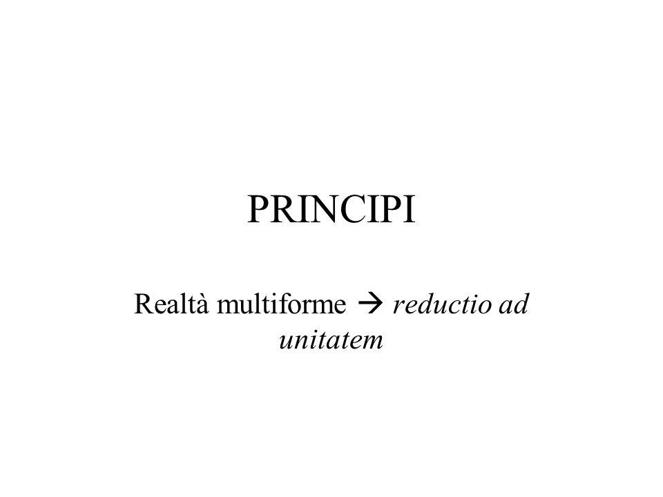 PRINCIPI Realtà multiforme reductio ad unitatem