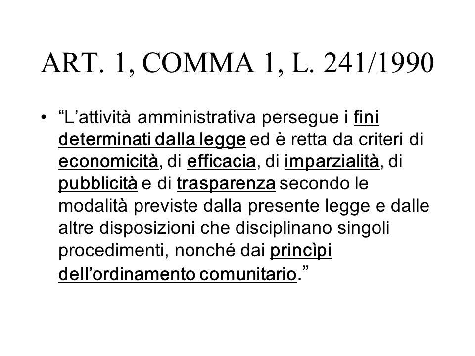 ART. 1, COMMA 1, L. 241/1990 Lattività amministrativa persegue i fini determinati dalla legge ed è retta da criteri di economicità, di efficacia, di i