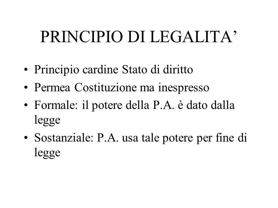 PRINCIPIO DI LEGALITA Principio cardine Stato di diritto Permea Costituzione ma inespresso Formale: il potere della P.A. è dato dalla legge Sostanzial