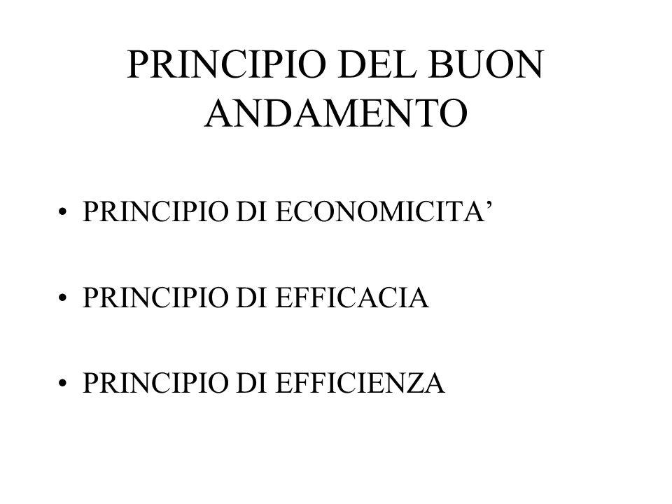 PRINCIPIO DEL BUON ANDAMENTO PRINCIPIO DI ECONOMICITA PRINCIPIO DI EFFICACIA PRINCIPIO DI EFFICIENZA