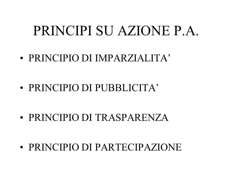 PRINCIPI SU AZIONE P.A. PRINCIPIO DI IMPARZIALITA PRINCIPIO DI PUBBLICITA PRINCIPIO DI TRASPARENZA PRINCIPIO DI PARTECIPAZIONE
