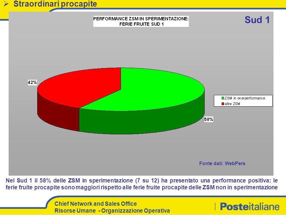 Chief Network and Sales Office Risorse Umane - Organizzazione Operativa Nel Sud 1 il 58% delle ZSM in sperimentazione (7 su 12) ha presentato una perf