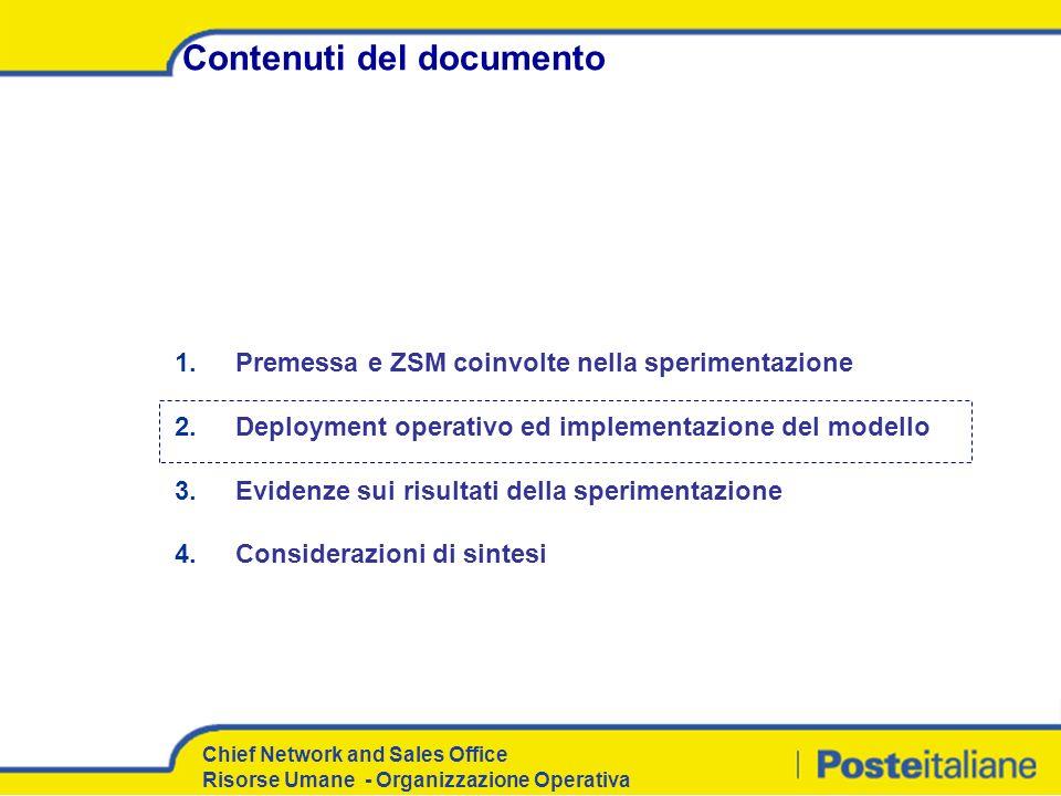 Chief Network and Sales Office Risorse Umane - Organizzazione Operativa Contenuti del documento 1. Premessa e ZSM coinvolte nella sperimentazione 2. D