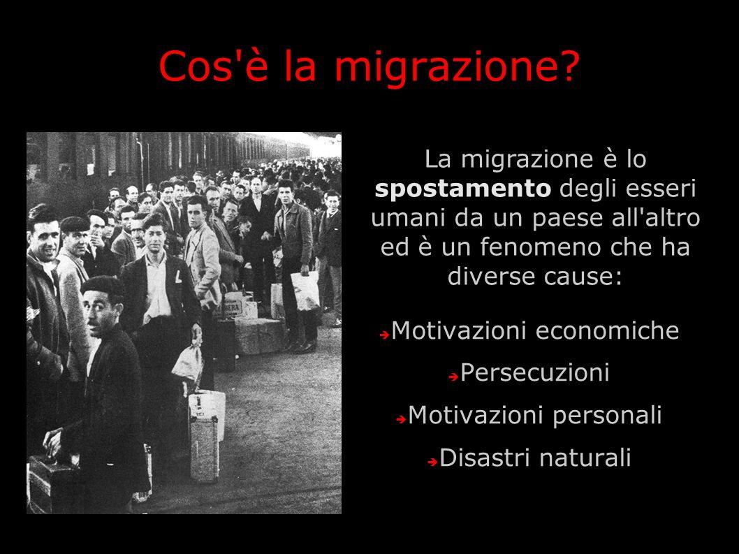 Cos'è la migrazione? La migrazione è lo spostamento degli esseri umani da un paese all'altro ed è un fenomeno che ha diverse cause: Motivazioni econom