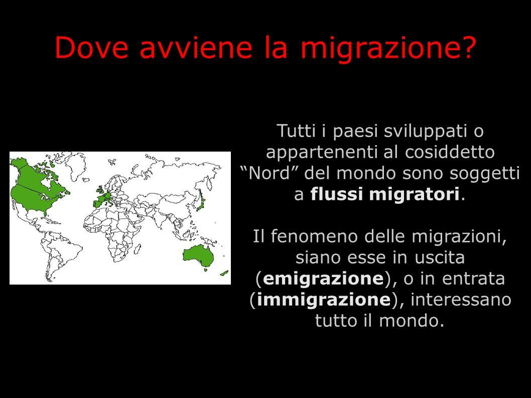 Dove avviene la migrazione? Tutti i paesi sviluppati o appartenenti al cosiddetto Nord del mondo sono soggetti a flussi migratori. Il fenomeno delle m