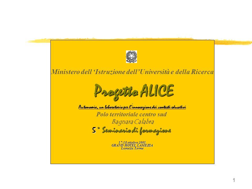 1 Ministero dell Istruzione dellUniversità e della Ricerca Progetto ALICE Autonomia, un laboratorio per linnovazione dei contesti educativi Polo terri
