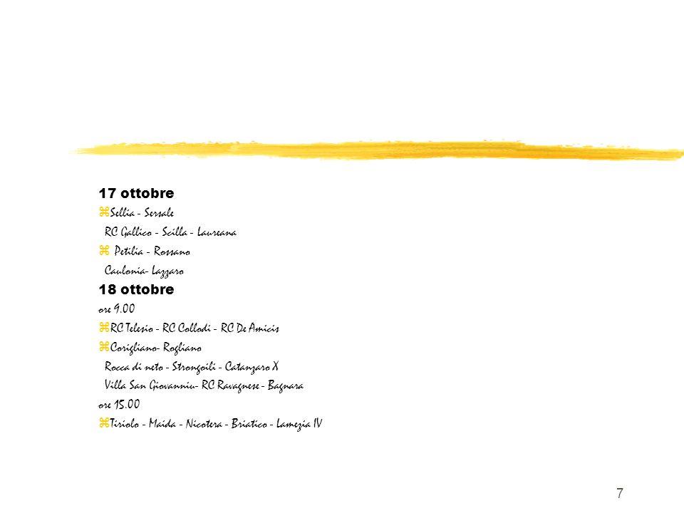 7 17 ottobre zSellia - Sersale RC Gallico - Scilla - Laureana Petilia - Rossano Caulonia- Lazzaro 18 ottobre ore 9.00 zRC Telesio - RC Collodi - RC De Amicis zCorigliano- Rogliano Rocca di neto - Strongoili - Catanzaro X Villa San Giovanniu- RC Ravagnese - Bagnara ore 15.00 zTiriolo - Maida - Nicotera - Briatico - Lamezia IV