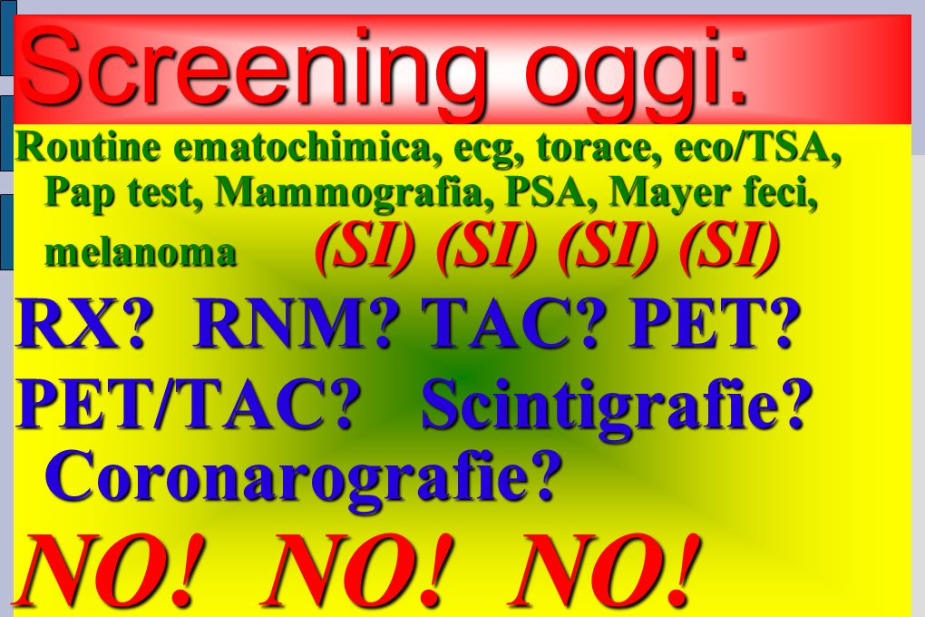 Screening oggi: Routine ematochimica, ecg, torace, eco/TSA, Pap test, Mammografia, PSA, Mayer feci, melanoma (SI) (SI) (SI) (SI) RX.