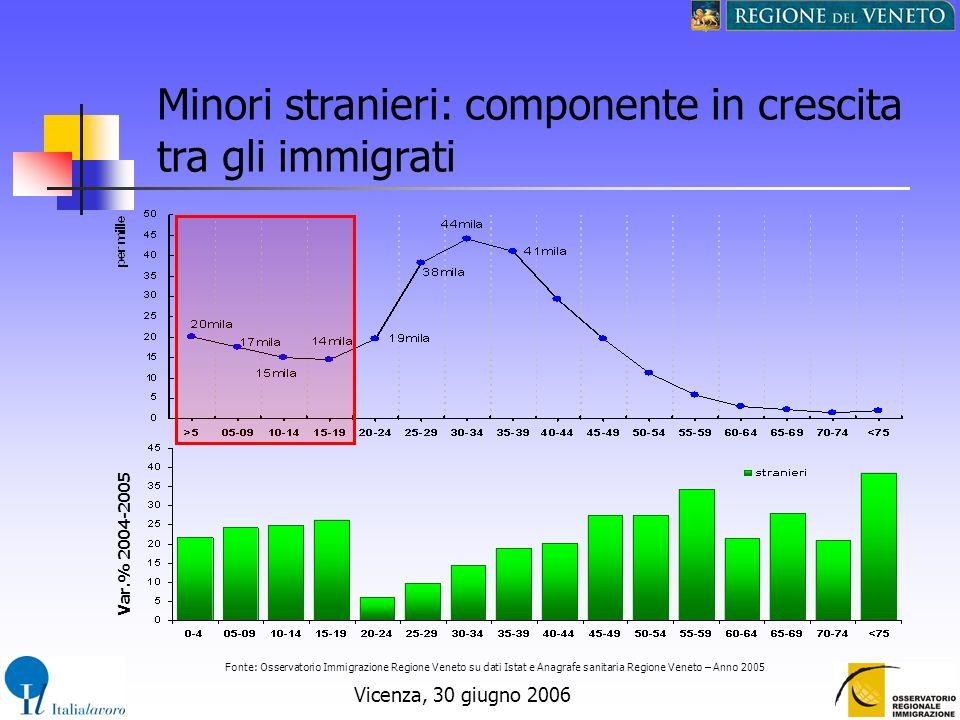 Vicenza, 30 giugno 2006 Minori stranieri: componente in crescita tra gli immigrati Fonte: Osservatorio Immigrazione Regione Veneto su dati Istat e Ana