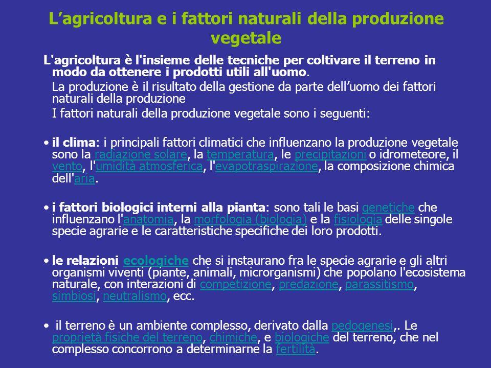 Lagricoltura e i fattori naturali della produzione vegetale L'agricoltura è l'insieme delle tecniche per coltivare il terreno in modo da ottenere i pr