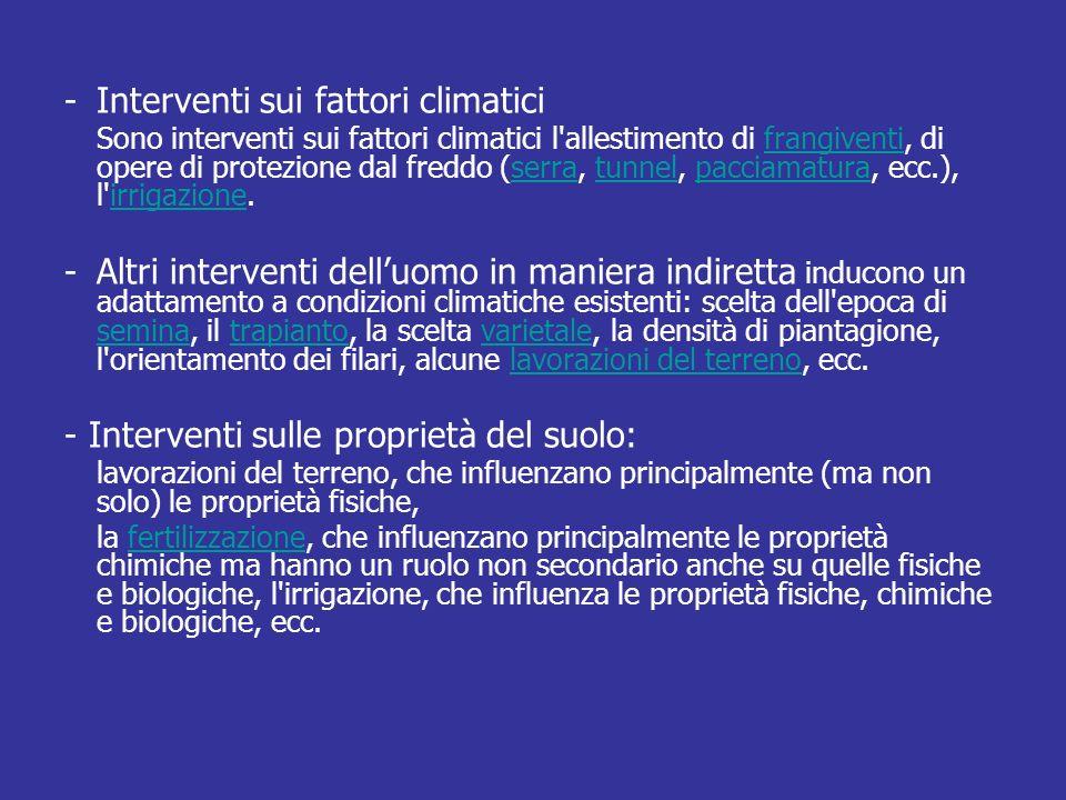 -Interventi sui fattori climatici Sono interventi sui fattori climatici l'allestimento di frangiventi, di opere di protezione dal freddo (serra, tunne