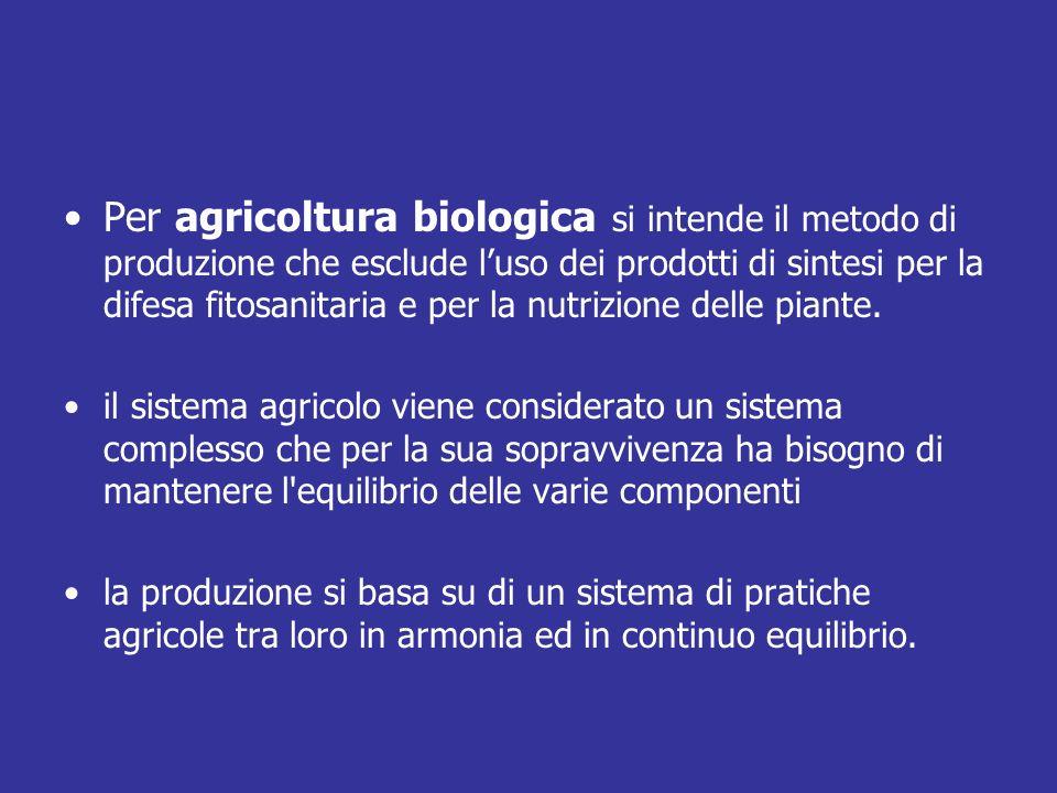 Per agricoltura biologica si intende il metodo di produzione che esclude luso dei prodotti di sintesi per la difesa fitosanitaria e per la nutrizione