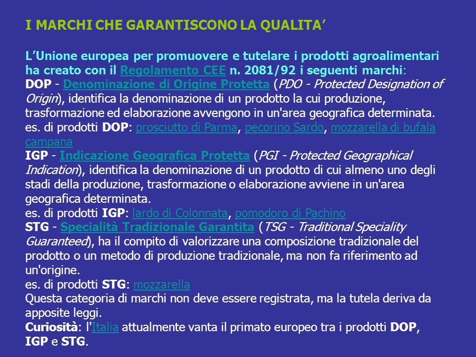 I MARCHI CHE GARANTISCONO LA QUALITA LUnione europea per promuovere e tutelare i prodotti agroalimentari ha creato con il Regolamento CEE n. 2081/92 i