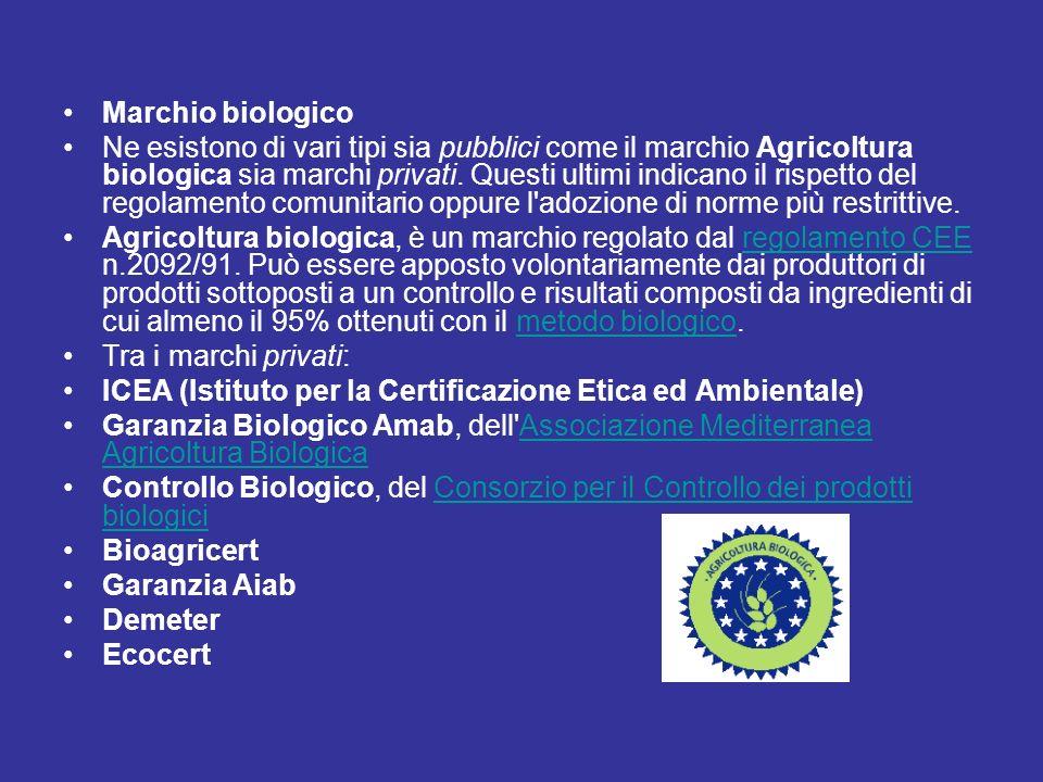 Marchio biologico Ne esistono di vari tipi sia pubblici come il marchio Agricoltura biologica sia marchi privati. Questi ultimi indicano il rispetto d