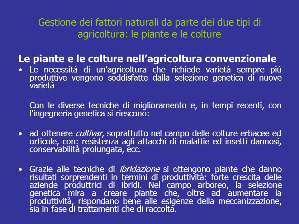 Gestione dei fattori naturali da parte dei due tipi di agricoltura: le piante e le colture Le piante e le colture nellagricoltura convenzionale Le nec