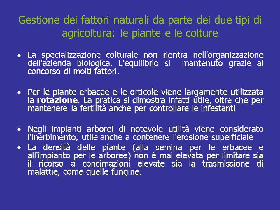 Gestione dei fattori naturali da parte dei due tipi di agricoltura: le piante e le colture La specializzazione colturale non rientra nell'organizzazio