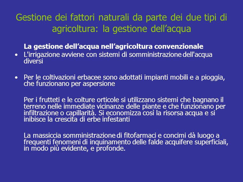 Gestione dei fattori naturali da parte dei due tipi di agricoltura: la gestione dellacqua La gestione dellacqua nellagricoltura convenzionale L'irriga