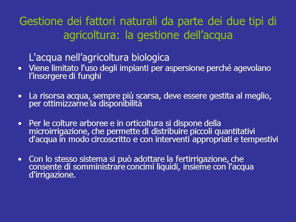 Gestione dei fattori naturali da parte dei due tipi di agricoltura: la gestione dellacqua L'acqua nellagricoltura biologica Viene limitato l'uso degli