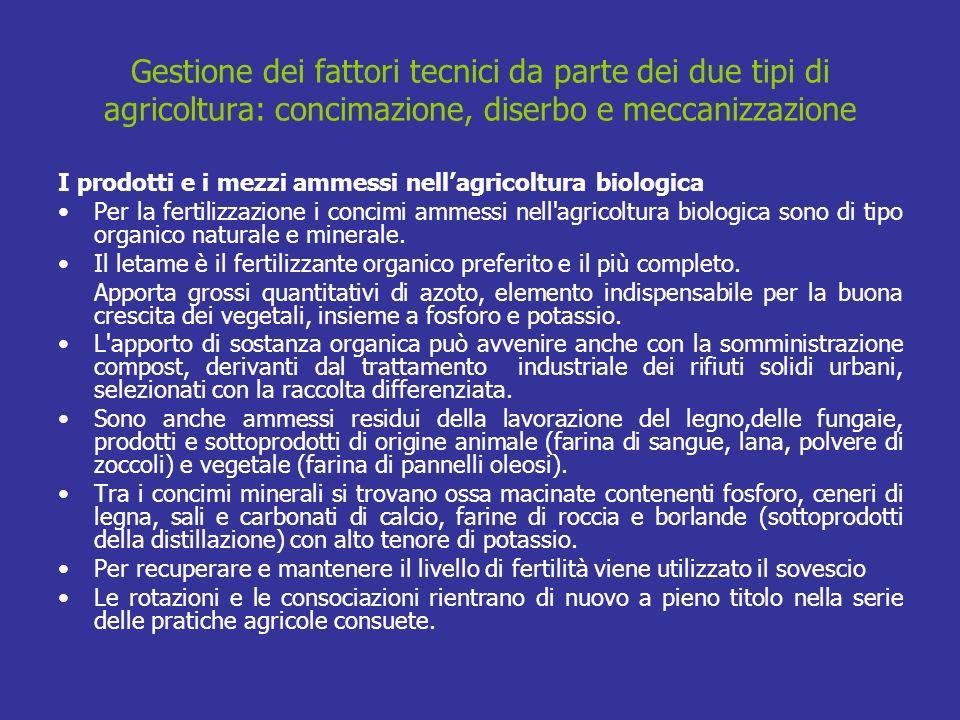 Gestione dei fattori tecnici da parte dei due tipi di agricoltura: concimazione, diserbo e meccanizzazione I prodotti e i mezzi ammessi nellagricoltur