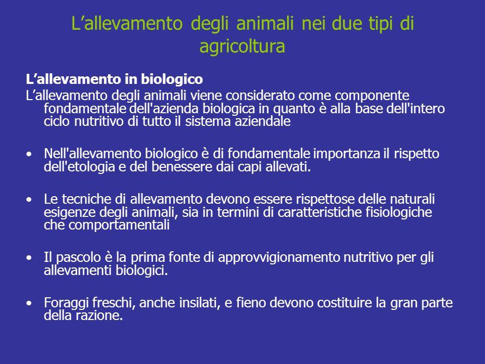 Lallevamento degli animali nei due tipi di agricoltura Lallevamento in biologico Lallevamento degli animali viene considerato come componente fondamen