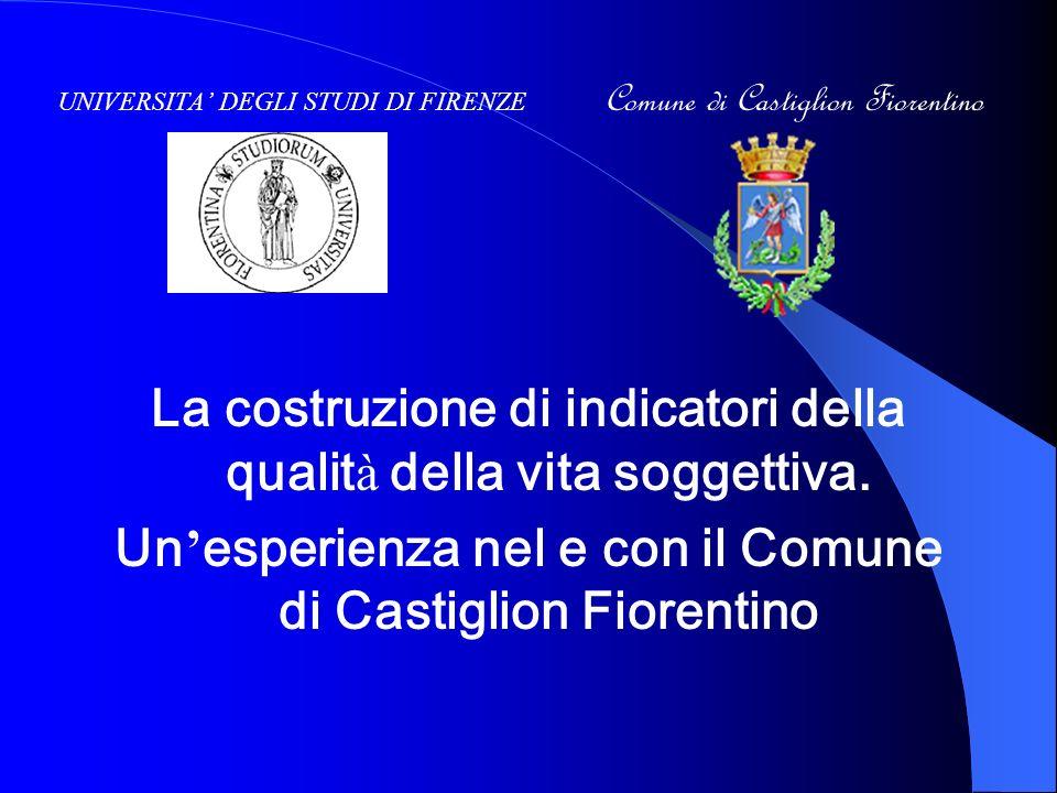 UNIVERSITA DEGLI STUDI DI FIRENZE Comune di Castiglion Fiorentino La costruzione di indicatori della qualit à della vita soggettiva.