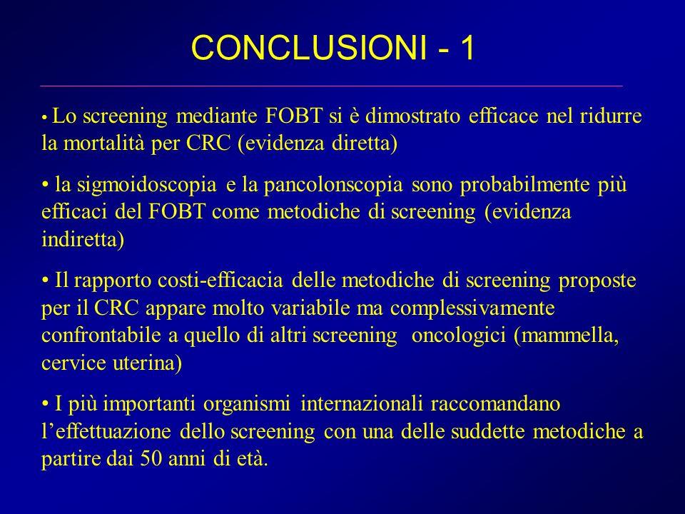 CONCLUSIONI - 1 Lo screening mediante FOBT si è dimostrato efficace nel ridurre la mortalità per CRC (evidenza diretta) la sigmoidoscopia e la pancolo