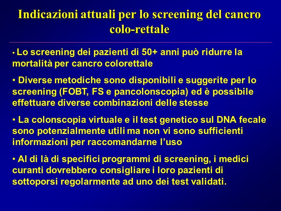 Indicazioni attuali per lo screening del cancro colo-rettale Lo screening dei pazienti di 50+ anni può ridurre la mortalità per cancro colorettale Div