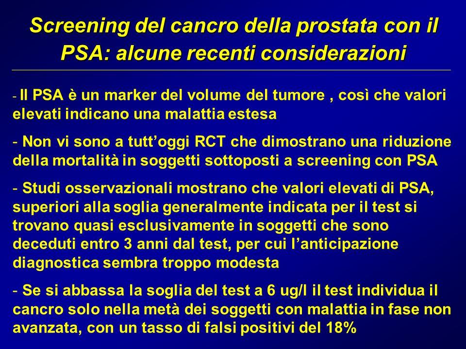 Screening del cancro della prostata con il PSA: alcune recenti considerazioni - Il PSA è un marker del volume del tumore, così che valori elevati indi