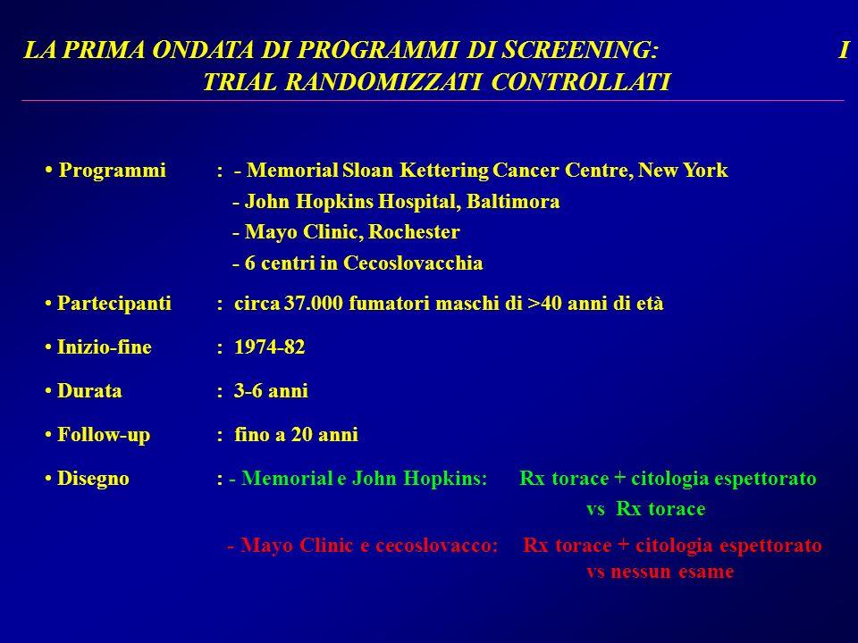 LA PRIMA ONDATA DI PROGRAMMI DI SCREENING: I TRIAL RANDOMIZZATI CONTROLLATI Programmi: - Memorial Sloan Kettering Cancer Centre, New York - John Hopki